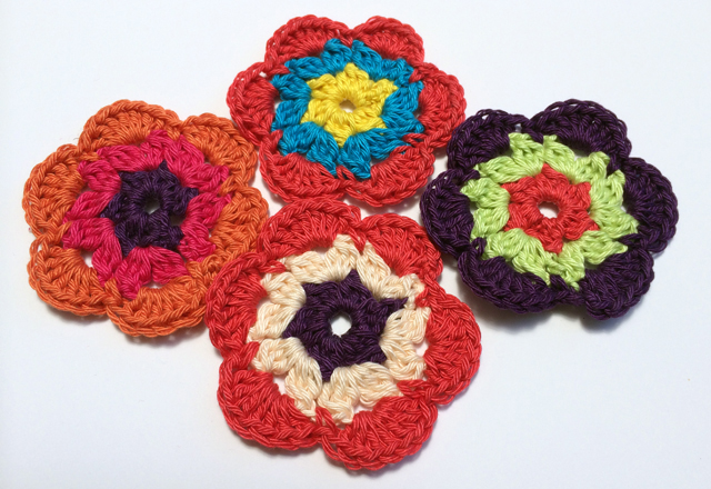 flower crochet - 3 colors