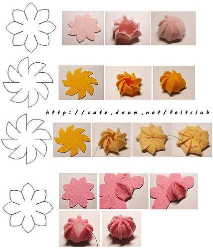 small felt flowers