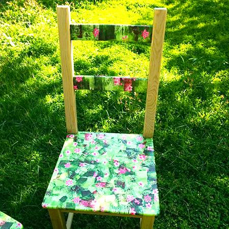 כסא בדקופאצ' ירוק-ורוד